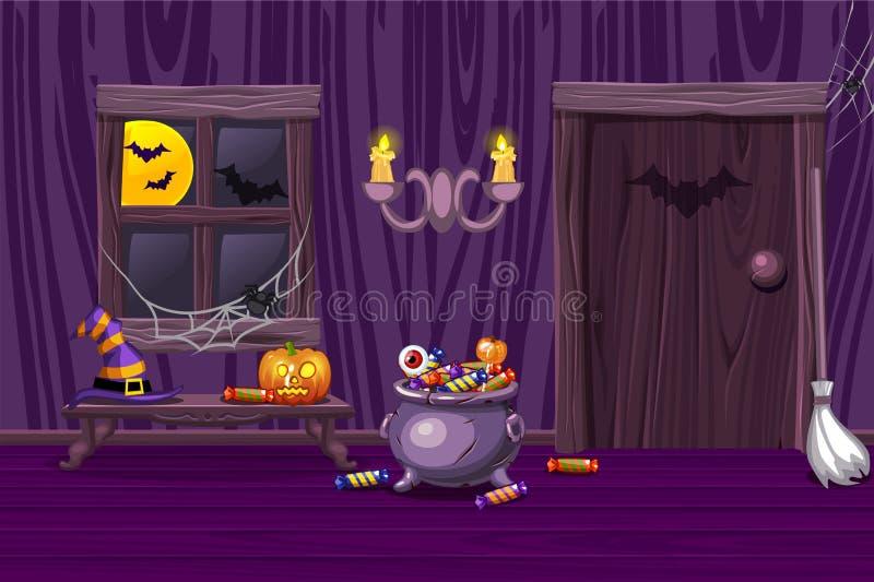 Casa púrpura, sitio de madera interior del ejemplo con los símbolos de Halloween stock de ilustración