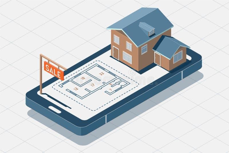 Casa para el concepto de la venta Ejemplo isométrico del vector Ejemplo isométrico del estado del vector en el teléfono en venta, fotos de archivo libres de regalías