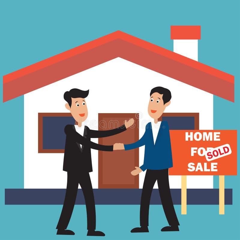 Casa para la muestra de la venta y vendida para el concepto de las propiedades inmobiliarias stock de ilustración