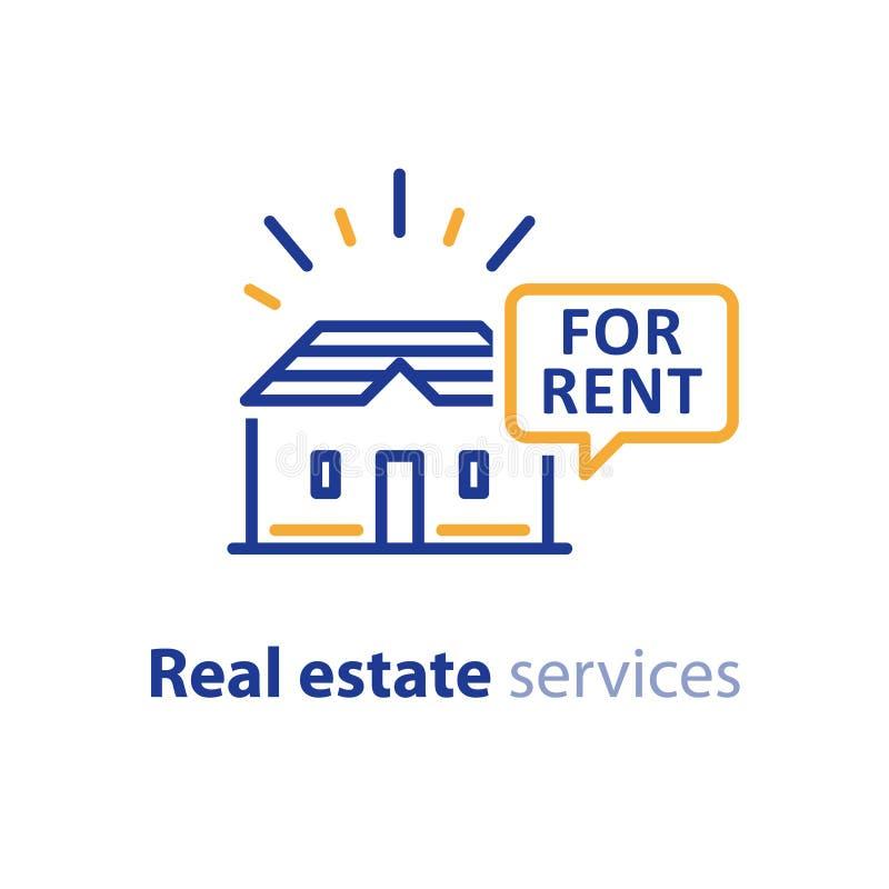 Casa para la oferta del alquiler, negocio de las propiedades inmobiliarias, haciendo publicidad de concepto ilustración del vector