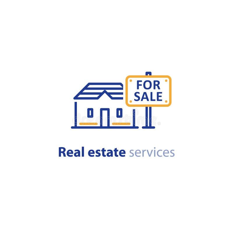 Casa para o sinal da venda, conceito dos bens imobiliários, ícone da propriedade ilustração do vetor