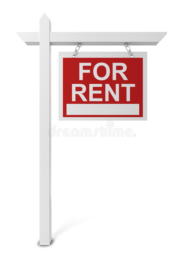 Casa para o sinal do aluguel ilustração stock