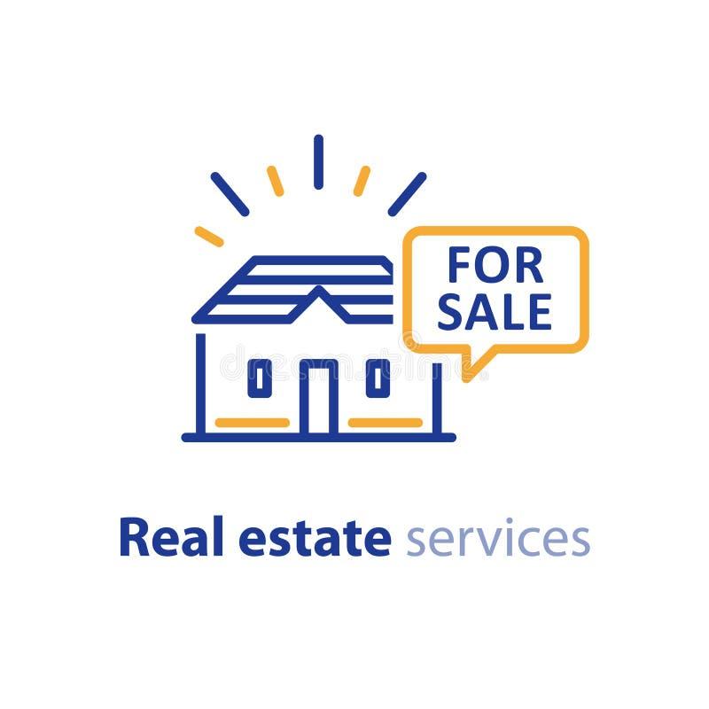 Casa para a oferta da venda, negócio dos bens imobiliários, anunciando o conceito ilustração do vetor