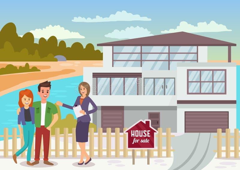 Casa para a venda Ilustração lisa do vetor ilustração do vetor