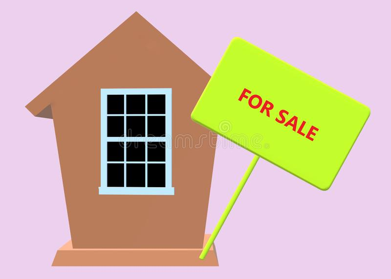 Casa para a venda - uma casa e um a marrons simples para o signage da venda ilustração stock