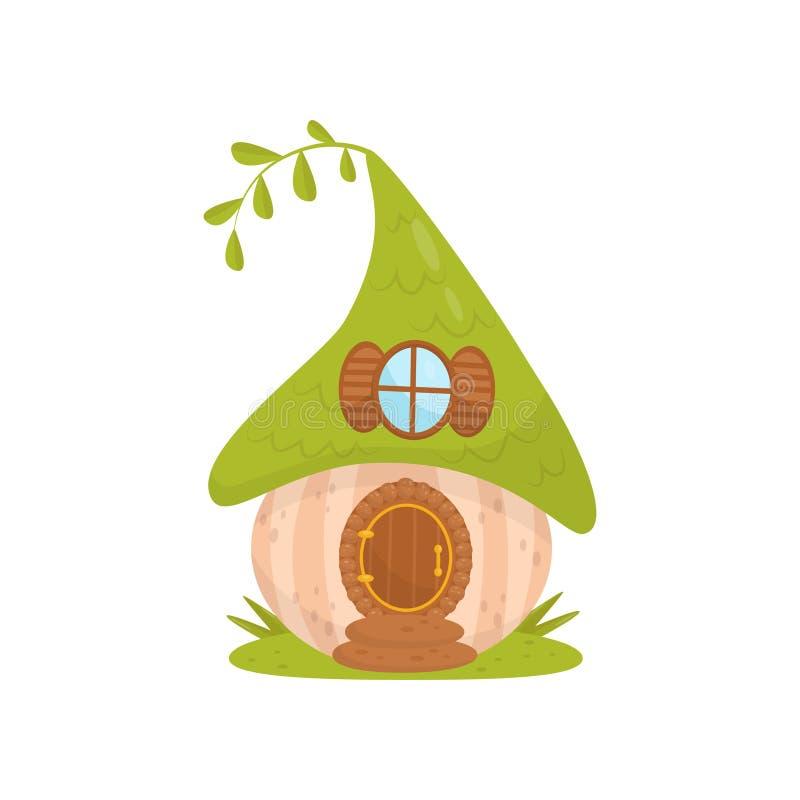 Casa pequena bonito com telhado verde, casa da fantasia do conto de fadas para a ilustração do vetor do gnomo, do anão ou do duen ilustração stock