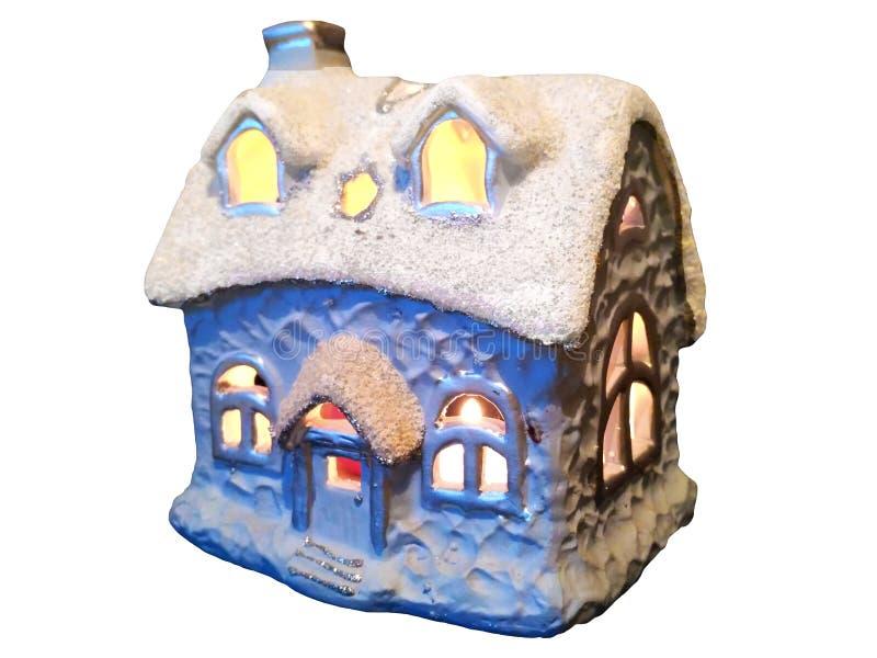 Casa pequena do inverno bonito do brinquedo fotos de stock royalty free