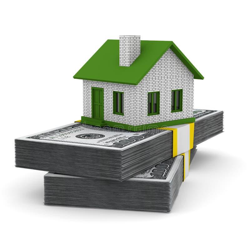 Casa pequena e dinheiro no fundo branco ilustração royalty free
