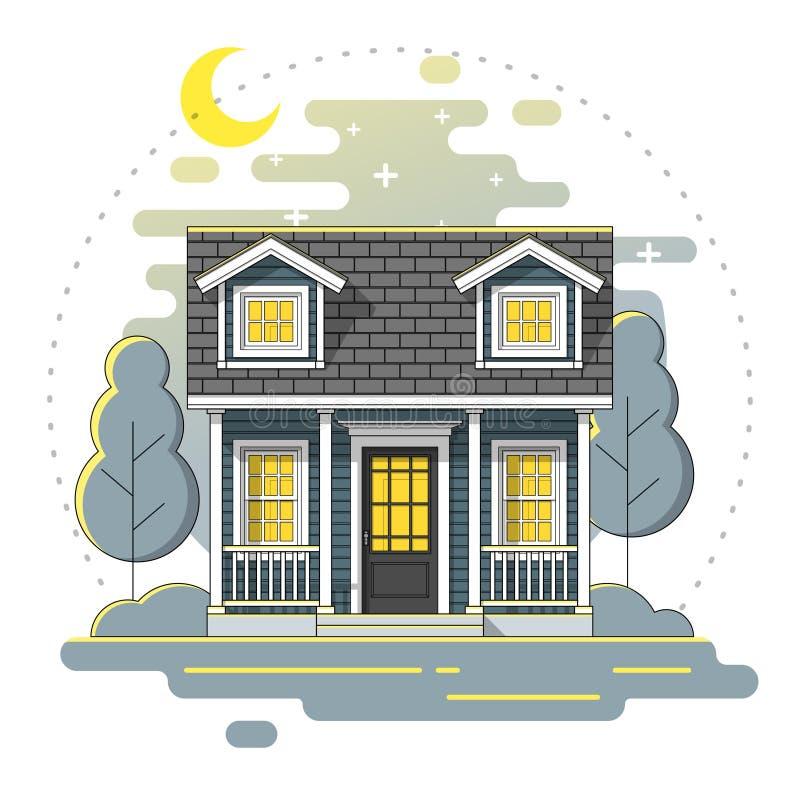 Casa pequena e fundo rural bonito da cena da noite da paisagem na linha lisa estilo da arte ilustração royalty free