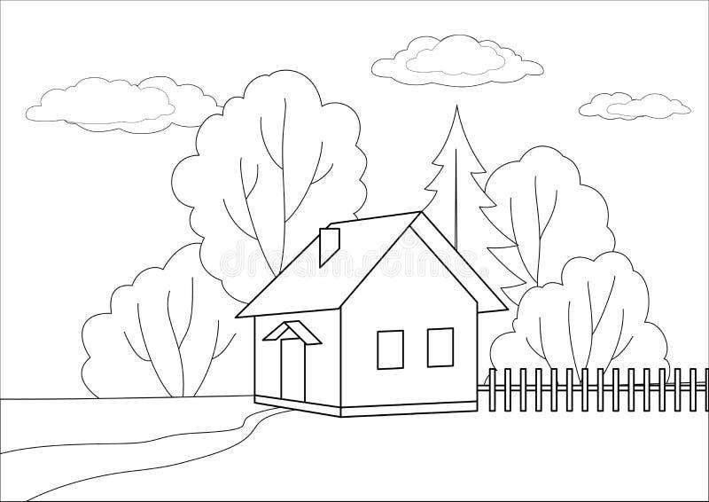 Casa pequena em uma borda de madeira, contornos ilustração stock