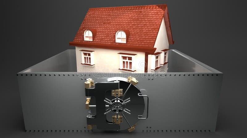 Casa pequena fechado em um cofre-forte do metal, fundo cinzento ilustração stock