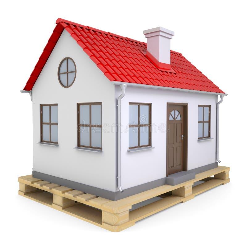 Casa pequena na pálete ilustração stock