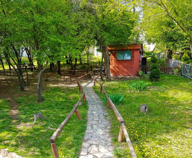 Casa pequena nas madeiras com estrada rochoso fotos de stock