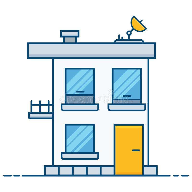 Casa piana con un riflettore parabolico Isolato su bianco illustrazione di stock