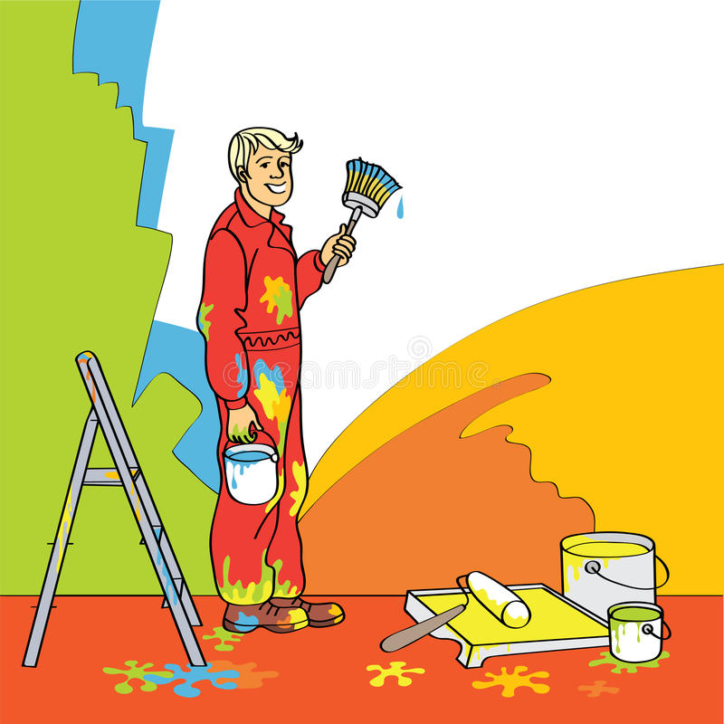 Casa-pintor ilustración del vector