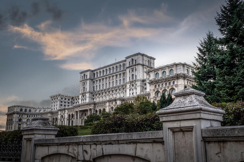"Casa poporului. Translates to ""People's House"" is Europe's largest administrative building and it houses the Romanian parliament and it was royalty free stock images"