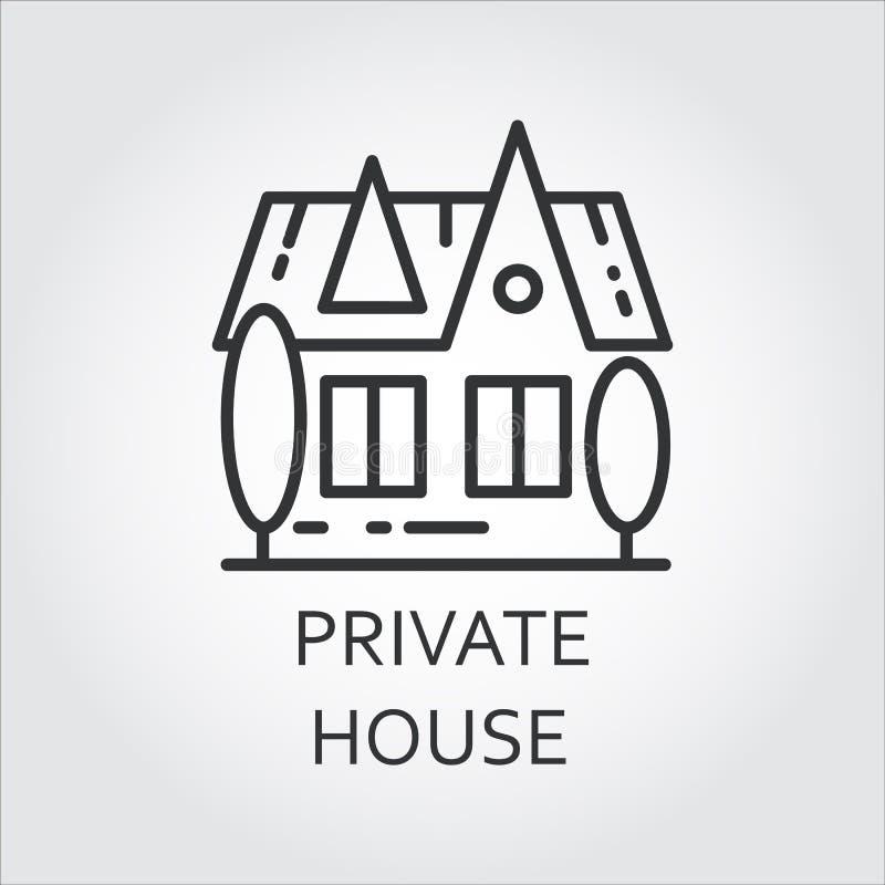 Casa privada del icono dibujada en estilo del esquema Etiqueta linear simple libre illustration