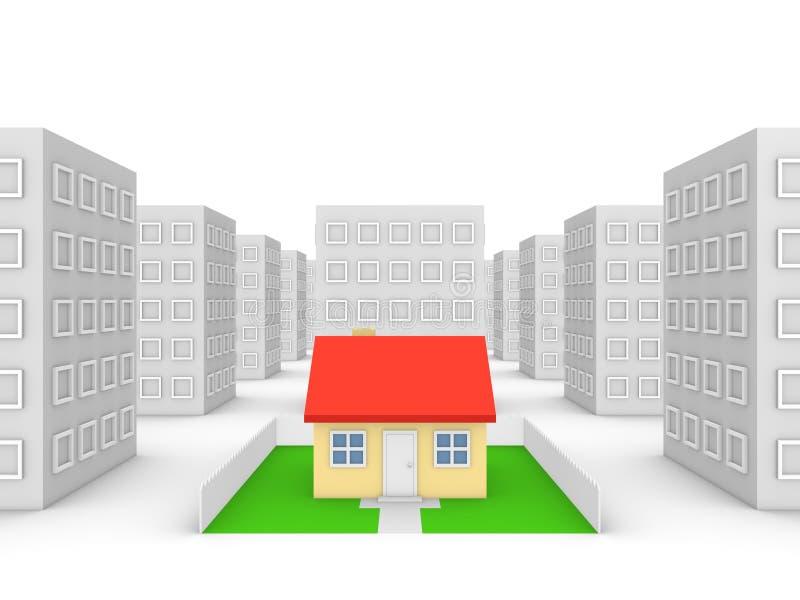Casa privada en la ciudad stock de ilustración
