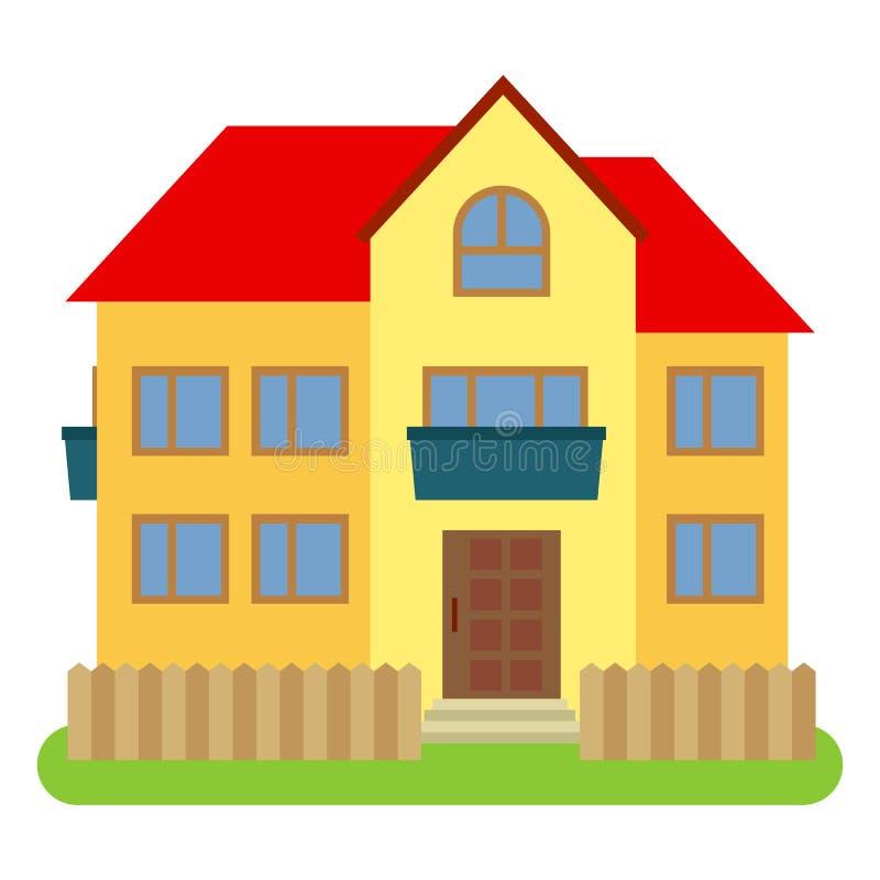 Casa privata con un tetto rosso e le pareti gialle su un fondo bianco illustrazione di stock