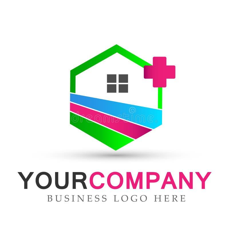 Casa, propiedades inmobiliarias, hogar, logotipo, iconos del edificio médico, colección de diseño del vector del símbolo del hoga stock de ilustración