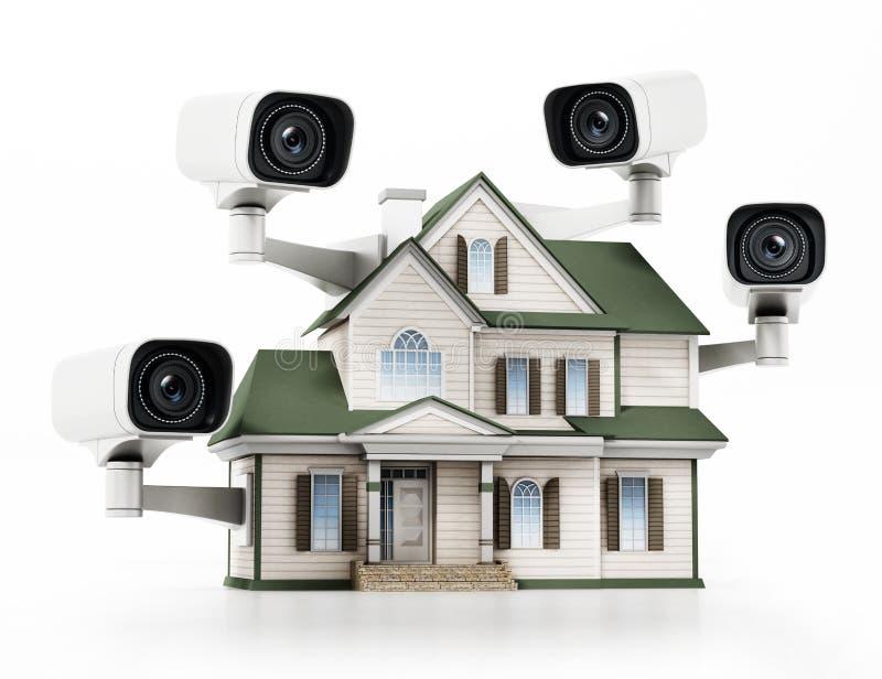 Casa protegida com câmaras de vigilância do CCTV ilustra??o 3D ilustração royalty free