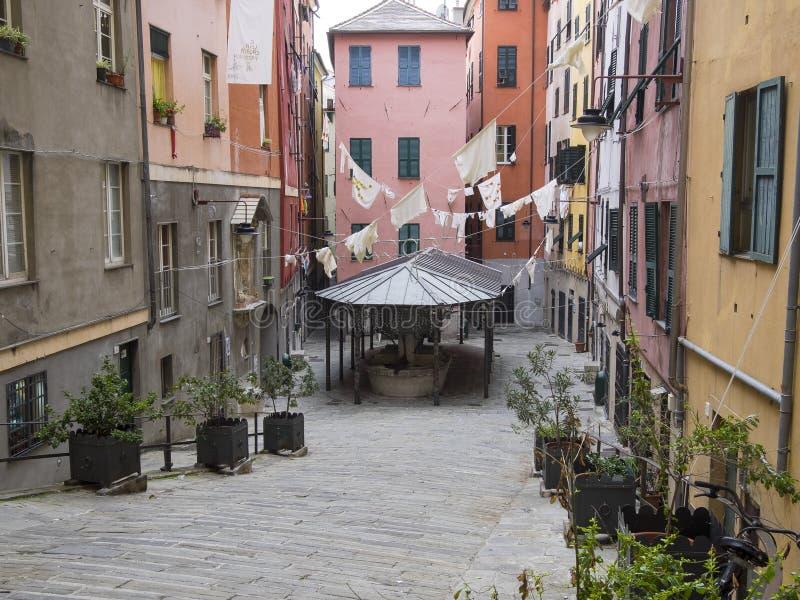 """Casa pubblica famosa del lavaggio di brigida di truogoli di Santa """"del quadrato di Genova """" fotografia stock libera da diritti"""