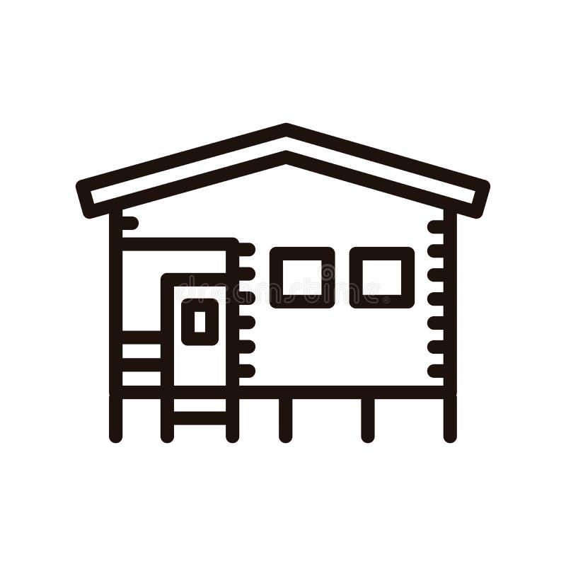 Casa que acampa de la casa de planta baja hecha de la madera Línea fina ejemplo del vector del icono libre illustration