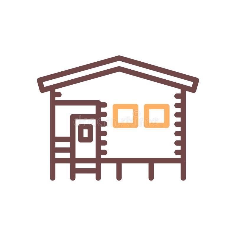 Casa que acampa de la casa de planta baja hecha de la madera Línea fina ejemplo del vector del icono stock de ilustración