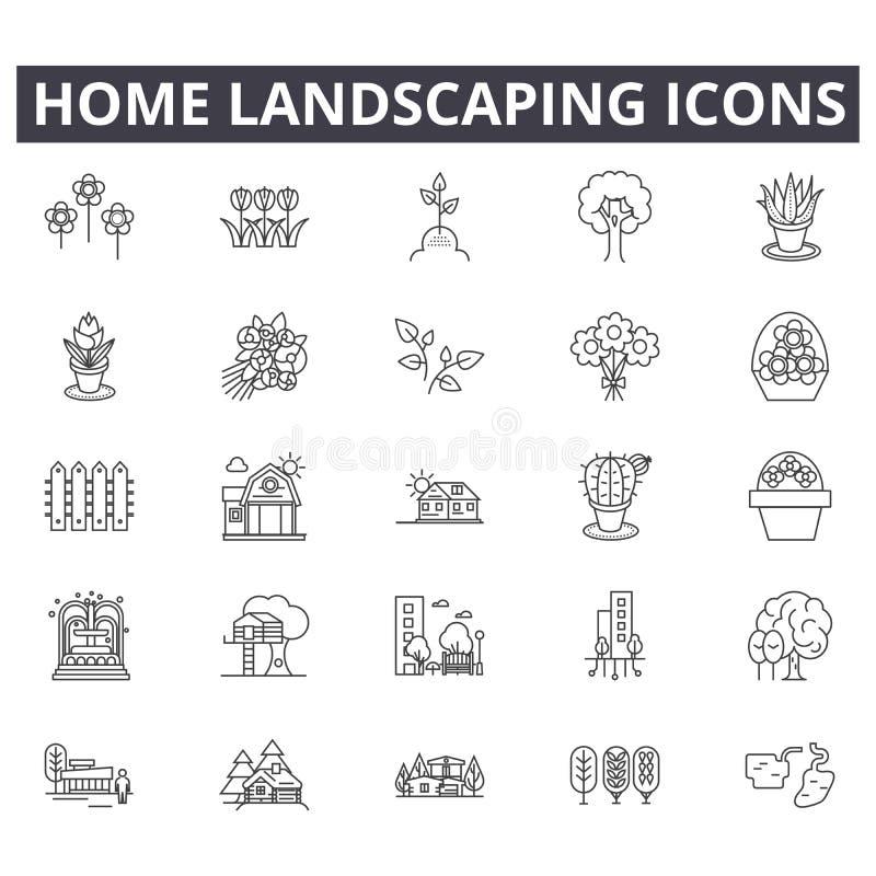 Casa que ajardina a linha ícones para a Web e o projeto móvel Sinais editáveis do curso Conceito ajardinando do esboço da casa ilustração stock