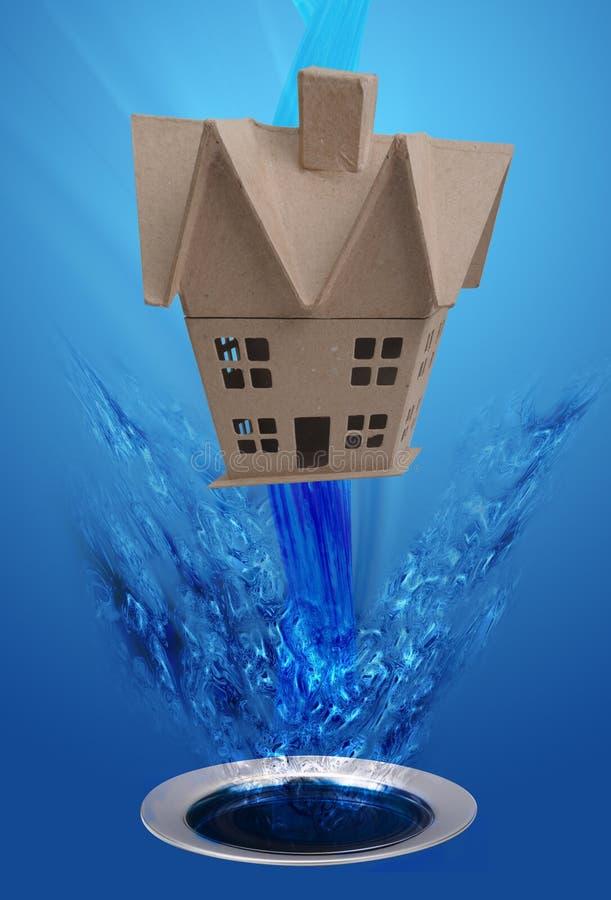 Casa que lava para baixo o dreno fotografia de stock royalty free