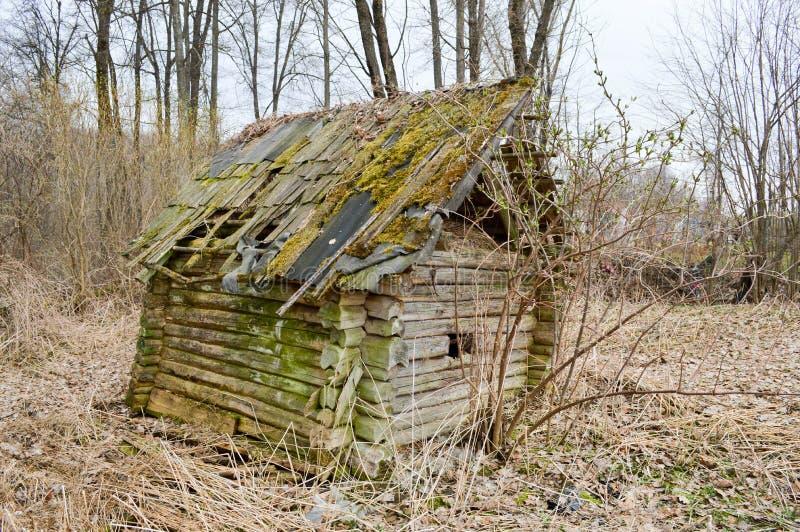 Casa quebrada arruinada, deteriorada de madeira pequeno dilapidado velho velho abandonado da vila dos feixes, logs e varas cobert imagens de stock royalty free