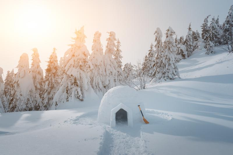 Casa reale dell'iglù della neve nelle montagne carpatiche di inverno immagine stock