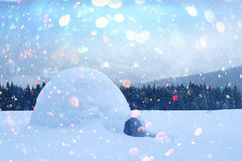 Casa reale dell'iglù della neve nelle montagne carpatiche di inverno fotografia stock