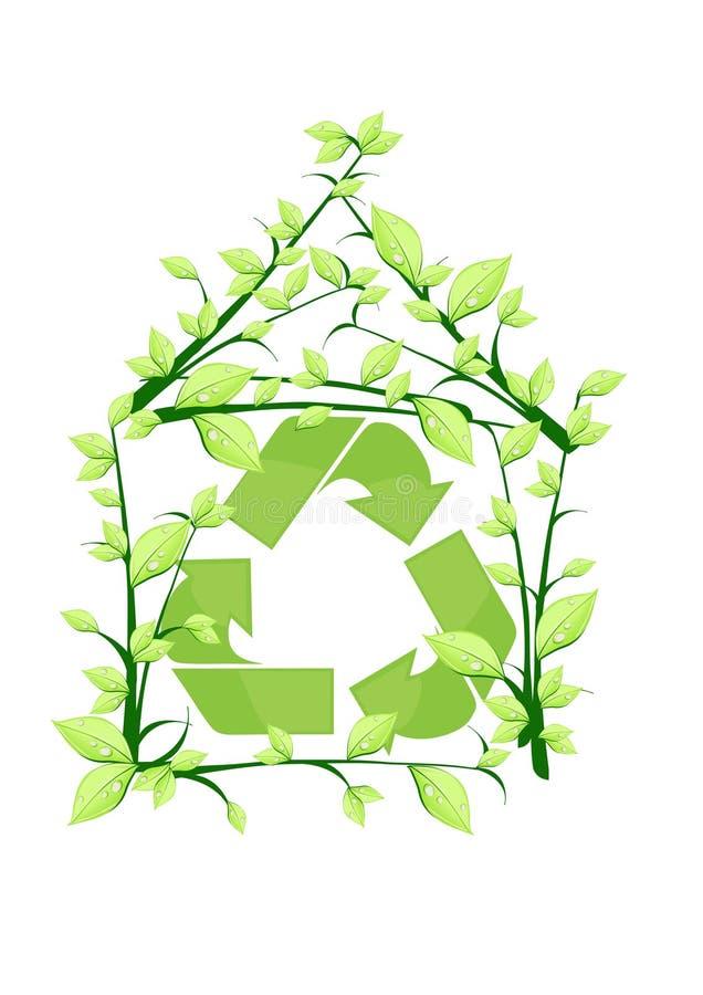 A casa recicl ilustração stock