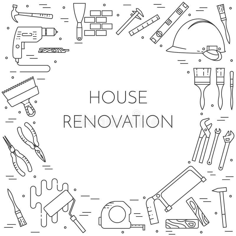 A casa remodela a bandeira horizontal com linha arte das ferramentas da construção ilustração do vetor