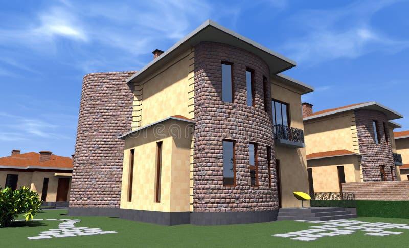 Casa residencial 3D imagen de archivo
