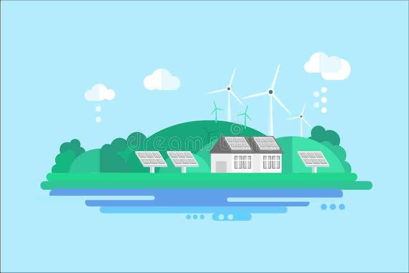Casa residencial de Eco con los paneles solares y las turbinas de viento, ejemplo del vector del concepto de la energía renovable ilustración del vector