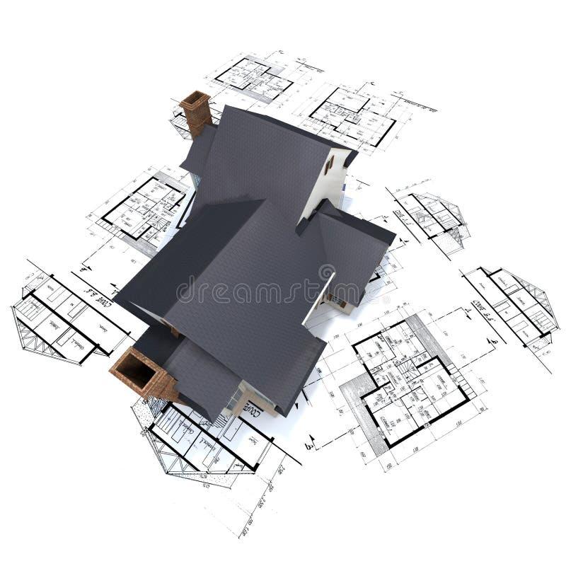 Casa residencial en los planes 3 ilustración del vector