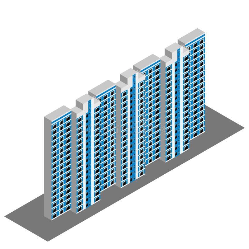 Casa residencial isométrica stock de ilustración