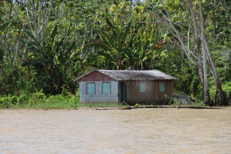 Casa ribeirinho no Rio Madeira, e na inundação do rio fotos de stock