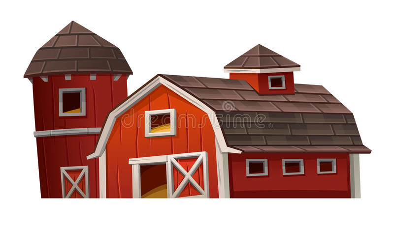 Casa roja del granero en el fondo blanco stock de ilustración