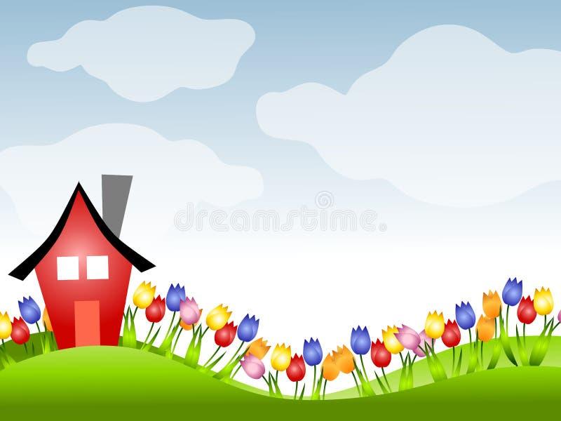 Casa roja y fila de tulipanes en resorte stock de ilustración