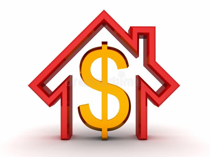 Casa roja y símbolo de oro del dólar del dinero en blanco ilustración del vector