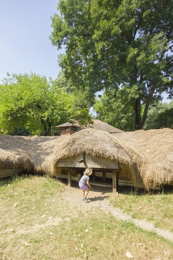 Casa romena tradicional subterrânea fotos de stock royalty free