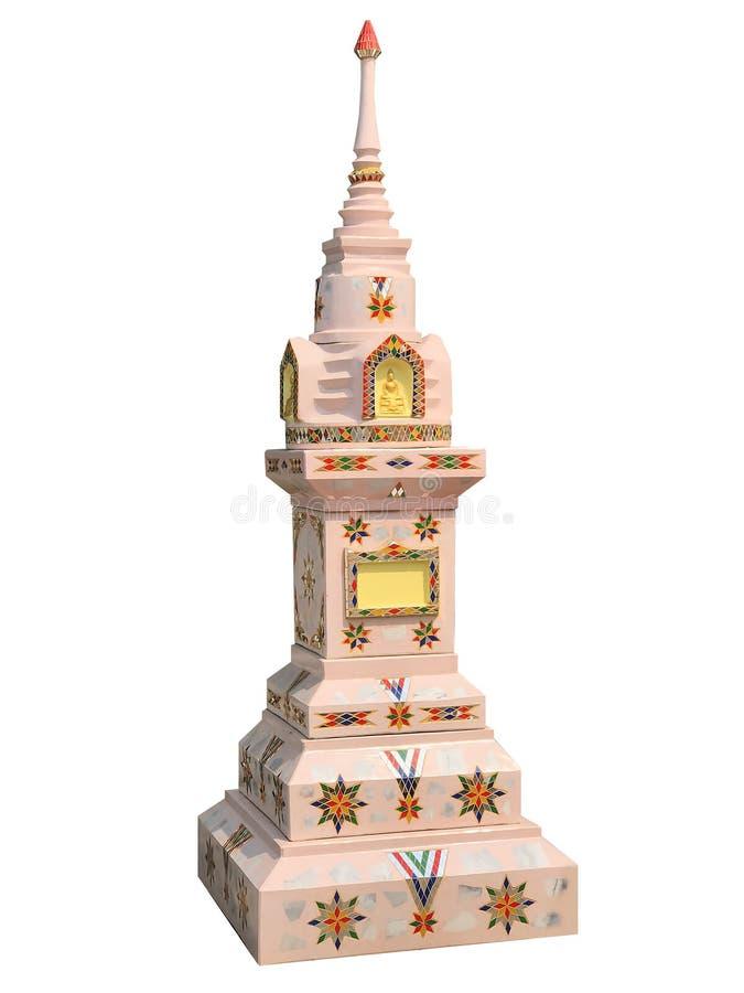 Casa rosa-chiaro di spirito isolata nel fondo bianco in Tailandia immagini stock