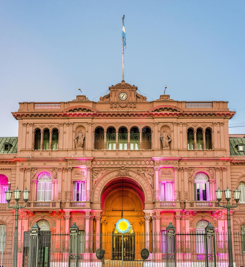 Casa Rosada building in Buenos Aires, Argentina. Casa Rosada building facade located at Mayo square in Buenos Aires, Argentina stock photography