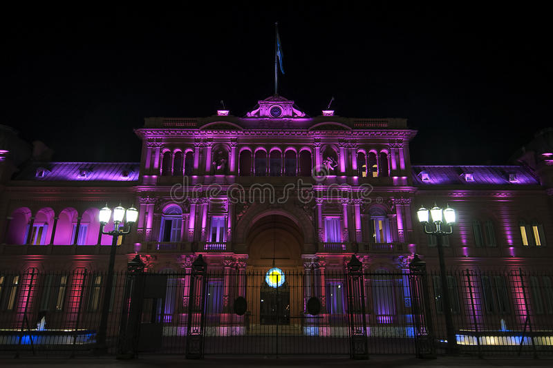 Casa Rosada at night. Argentina´s Presidential Palace - also known as Casa Rosada stock photo