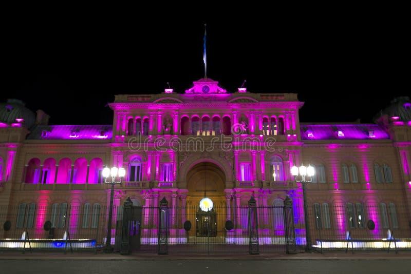Casa Rosada nocą (Różowy dom) zdjęcia royalty free