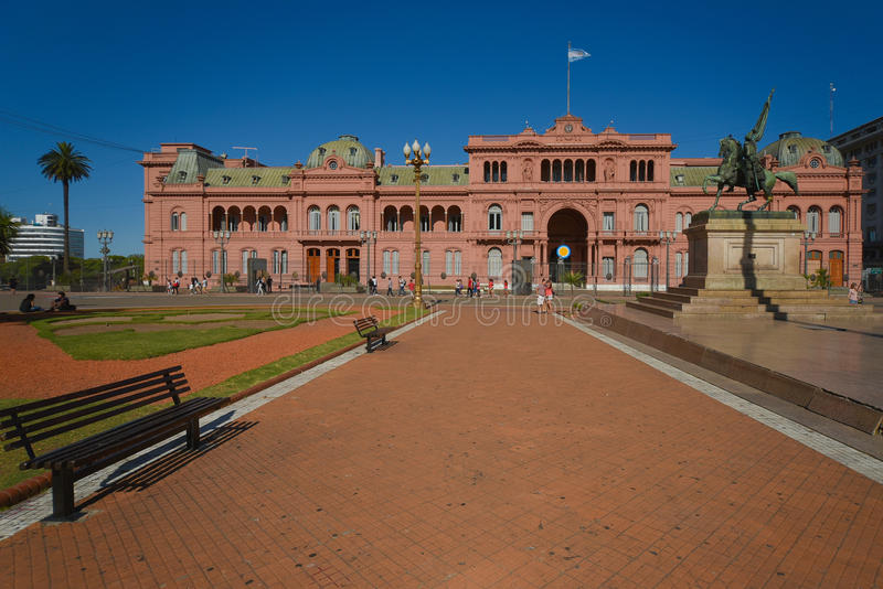Casa Rosada. The Casa Rosada (The Pink House), official residence of the President of Argentina and seat of the Government, placed at the eastern end of the stock photography