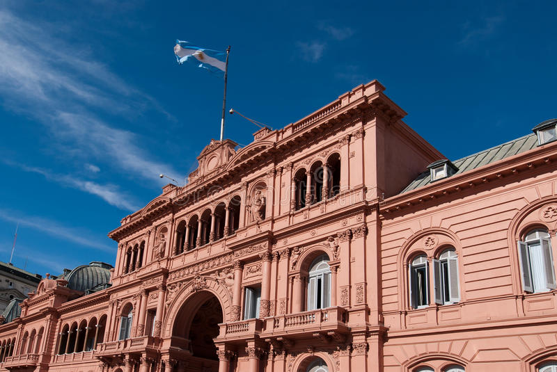 Casa Rosada, presidential palace from Argentina. Famous Balcony in Casa Rosada Where Evita Talks People royalty free stock image